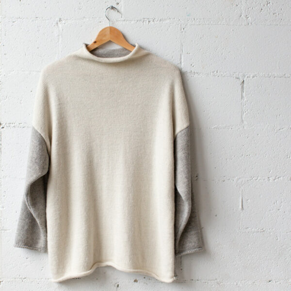 Alpaca wool knit mid cream and grey jumper